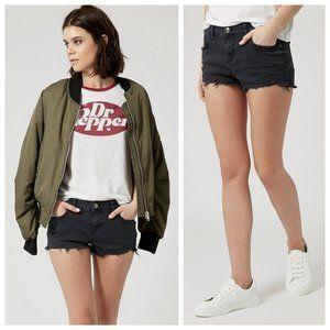 Topshop Distressed Moto Daisy Black Denim Shorts
